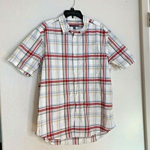 Old Navy Mens Sz XL Plaid Button Up Shirt Plaid Re